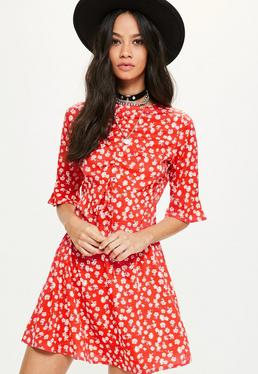Red Floral Print Ruffle Shift Dress