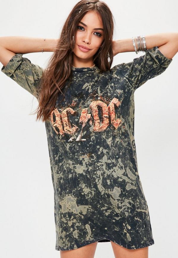 Dark Blue Washed ACDC Oversized T-shirt Dress