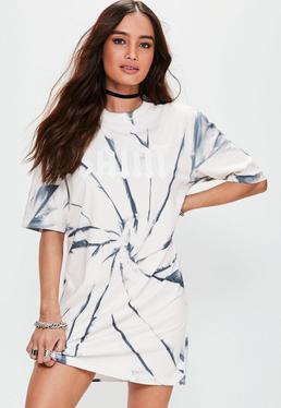 Grey Washed Saint Graphic Oversized T Shirt Dress