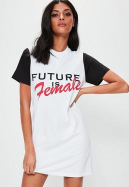 White Oversized Future Is Female T-shirt Dress