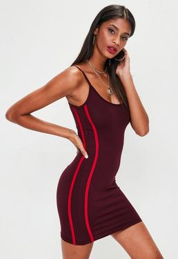 Burgundy Side Stripe Bodycon Dress