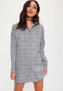 Robe-chemise grise à carreaux