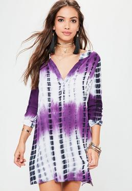 Fioletowa farbowana luźna sukienka