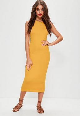 Mustard Racer Neck Midi Dress