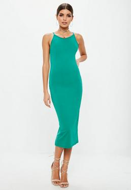 Green Racer Neck Midi Dress