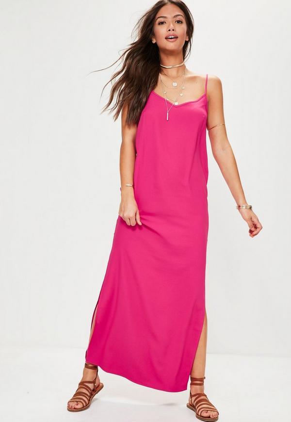 Pink Cami Low Back Maxi Dress