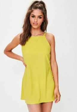 Yellow Double Strap Shift Dress