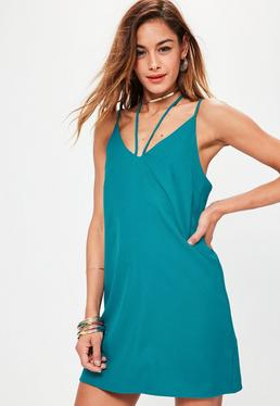 Blue Harness Neck Cami Dress