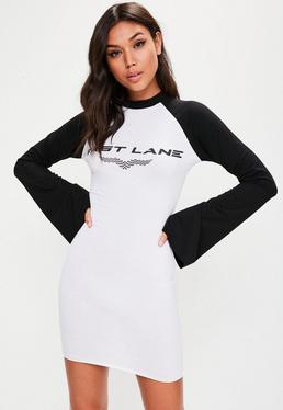 White Fast Lane Racer Graphic High Neck Dress