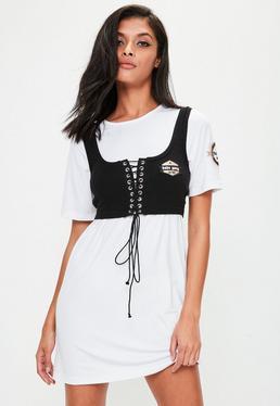 Weißes 2-in-1 Korsett-Kleid mit Badges