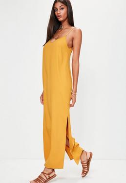 Yellow Cami Low Back Maxi Dress