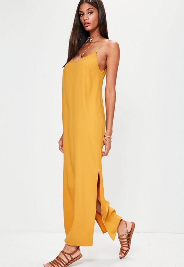 Yellow Cami Low Back Maxi Dress