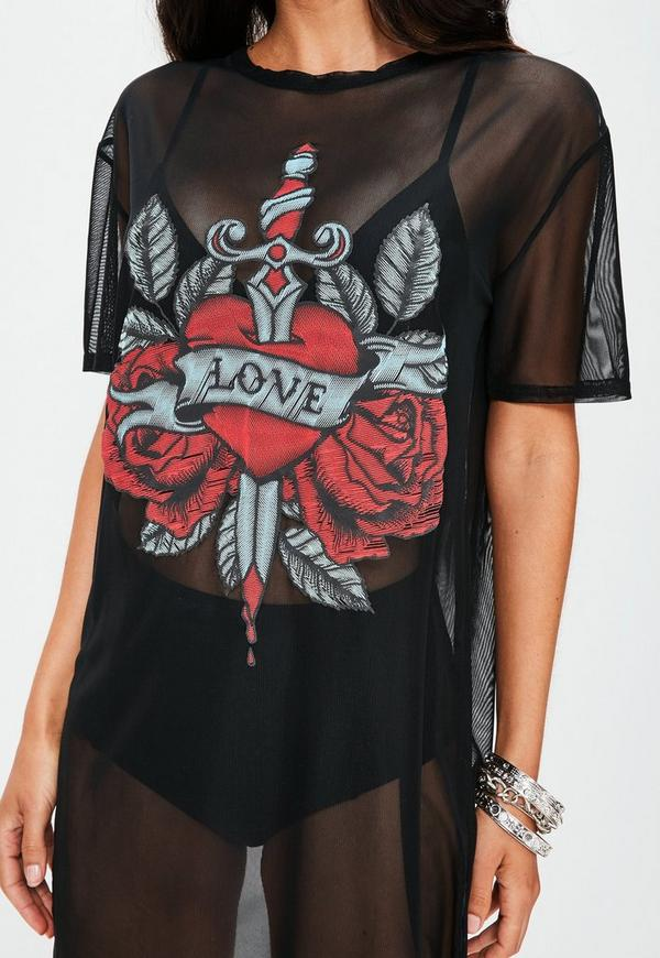 Black mesh tattoo print t shirt dress missguided for Mesh tattoo shirt