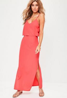 Coral Crepe Strappy Maxi Dress