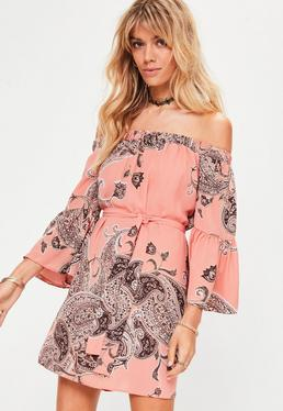 Nude Bardot Paisley Tie Waist Swing Dress