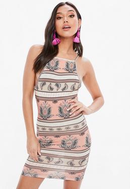 Pink Paisley Print Racer Neck Bodycon Dress