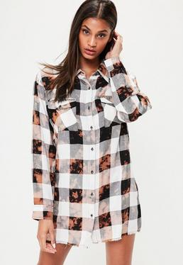 Brown Checked Fray Hem Stud Detail Shirt Dress