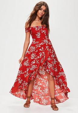 Red Floral Shirred Maxi Dress