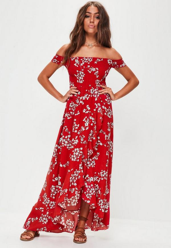 Red Floral Shirred Maxi Dress   Missguided