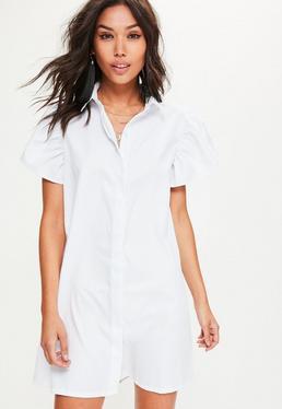 Vestido camisa con mangas abullonadas en blanco