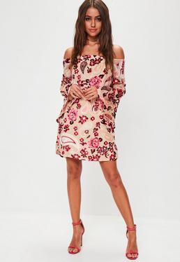 Nude Floral Velvet Flare Sleeve Dress