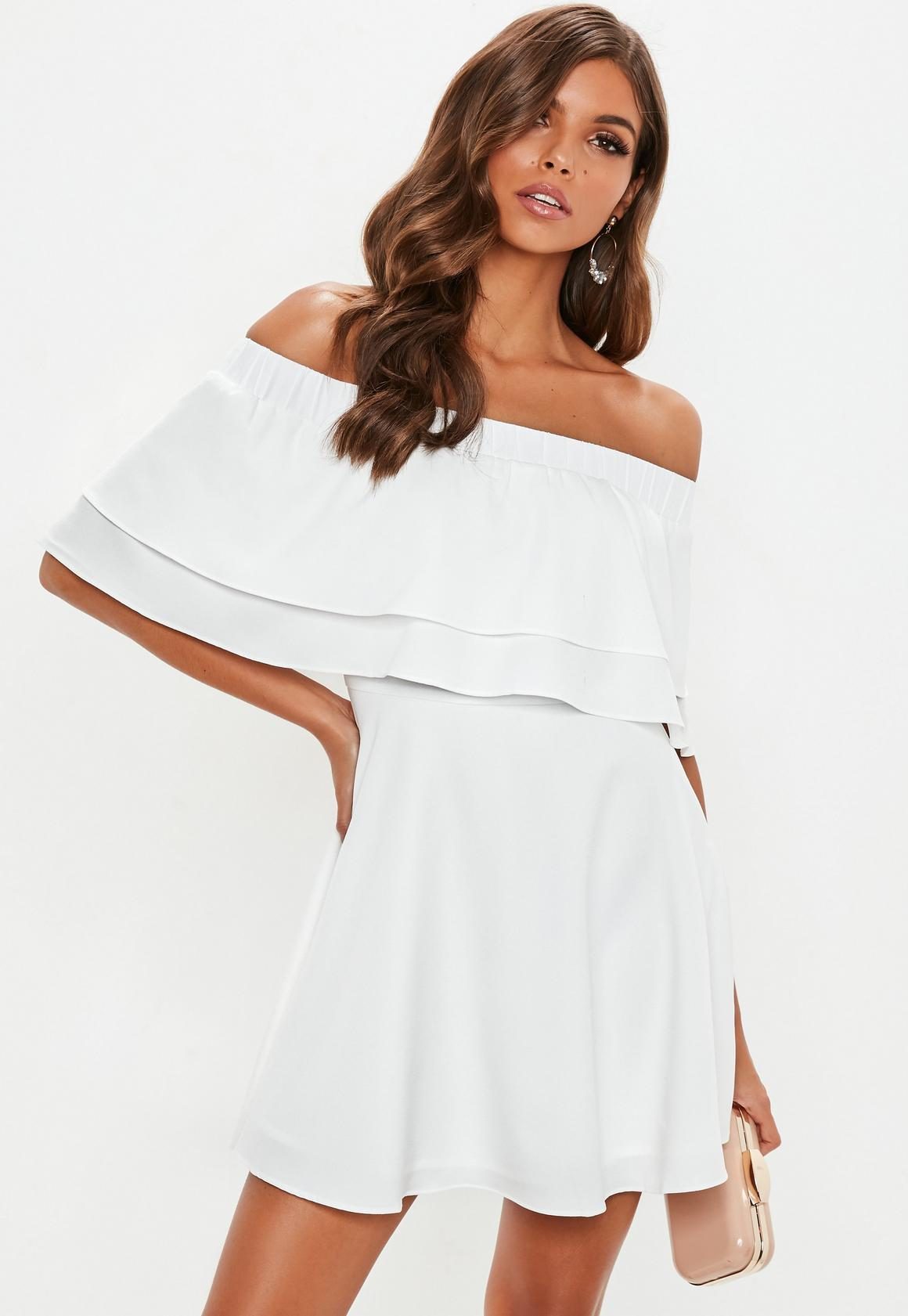 White Ruffle Layer Bardot Swing Dress | Missguided Ireland