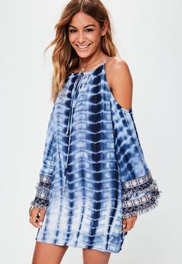 Blue Tie Dye Embellished Cold Shoulder Swing Dress