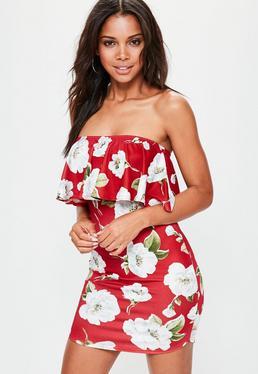 Red Floral Frill Bardot Bodycon Dress