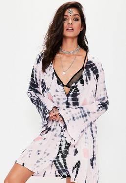 Pink Tie Dye Oversized Shirt Dress