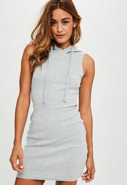 Grey Ribbed Hooded Bodycon Dress