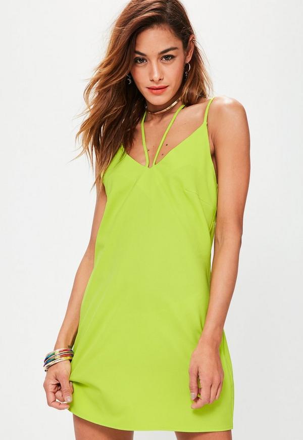 Yellow Harness Neck Cami Dress