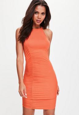 Orange Ruched Detail Jersey Bodycon Dress