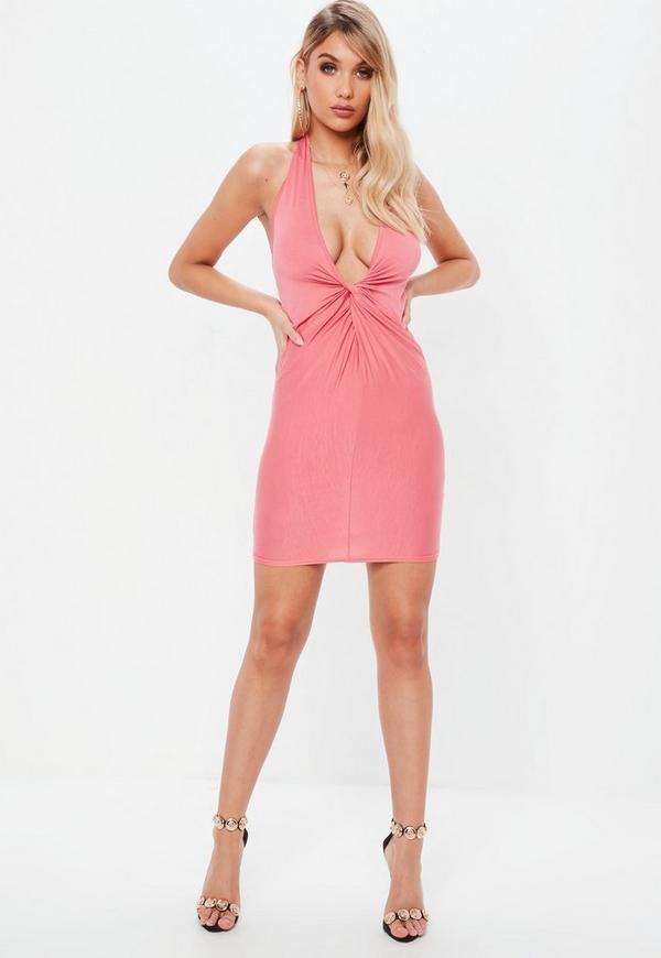 Pink Twist Front Halterneck Bodycon Dress