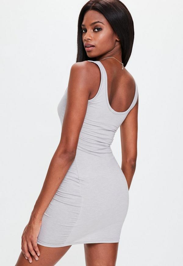 Bebe grey bodycon mini dress yamba romwe