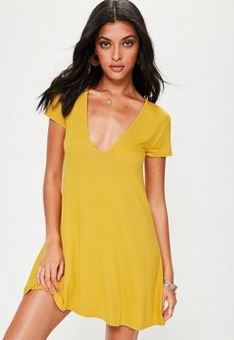 Yellow Cap Sleeve V Neck Swing Dress