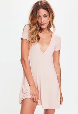 Pink Cap Sleeve V Neck Swing Dress