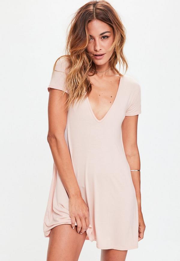 Pink Cap Sleeve V Neck Swing Dress
