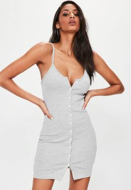 Grey Ribbed Popper Mini Dress