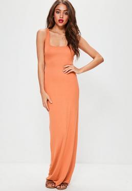 Pomarańczowa sukienka maxi bez rękawów