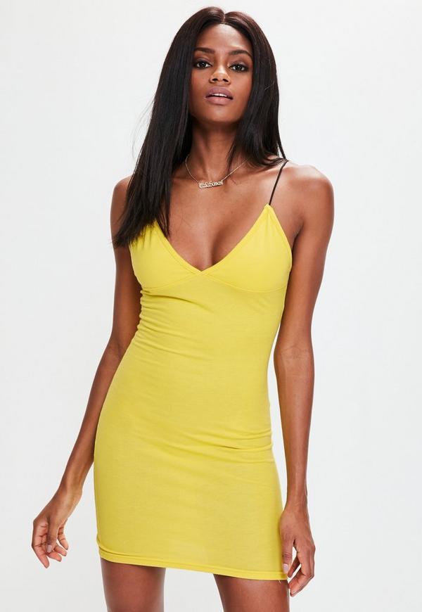 Yellow Spaghetti Strap Bodycon Dress