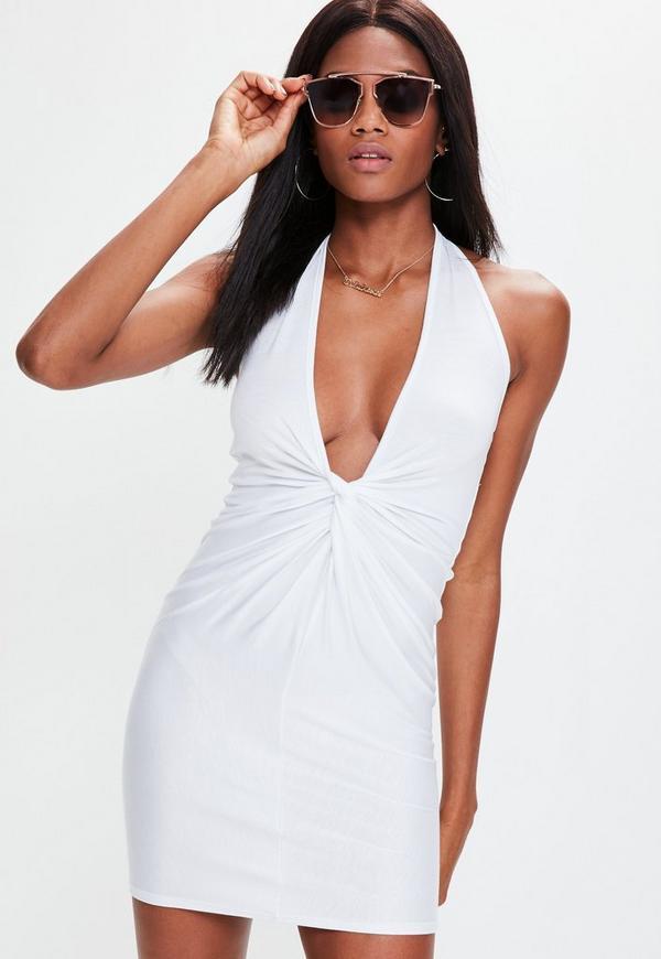 White Twist Front Halterneck Bodycon Dress