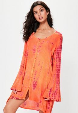 Orange Oversized Tie Dye Shirt Dress