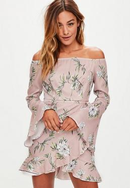 Pink Floral Print Long Sleeve Ruffle Bardot Tea Dress