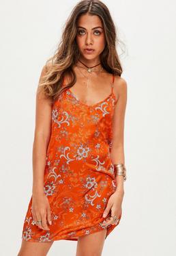 Orange Floral Cami Shift Dress