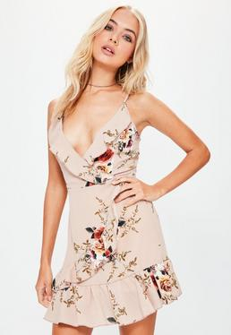 Nude Strappy Frilled Detail Printed Wrap Dress