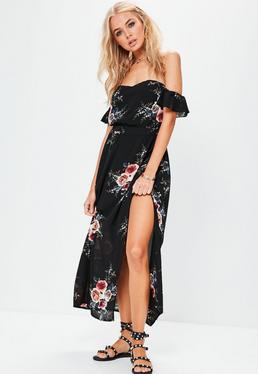 Czarna sukienka maxi bardot z rozcięciem i falbankami na rękawkach