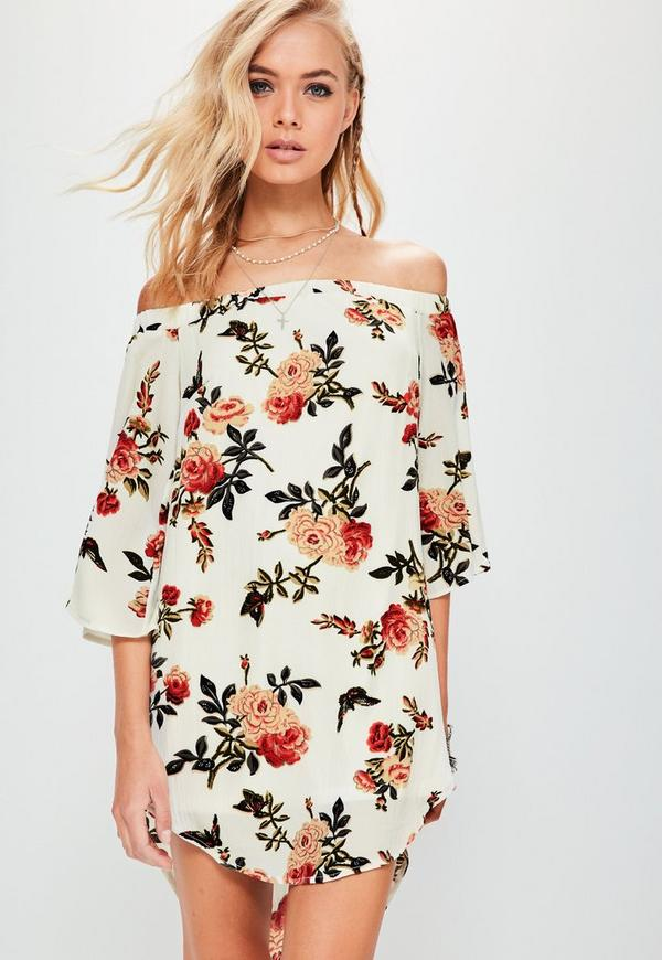 White Bardot Flared Sleeve Printed Shift Dress