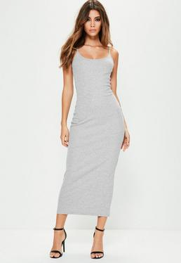 Grey Rib Strappy Midi Dress