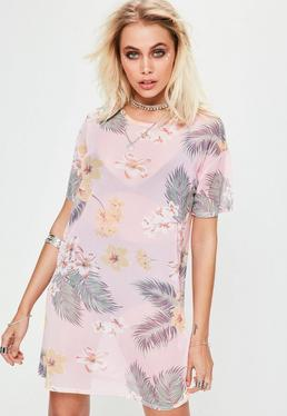 Pink Oversized Floral Print Mesh T-shirt Dress