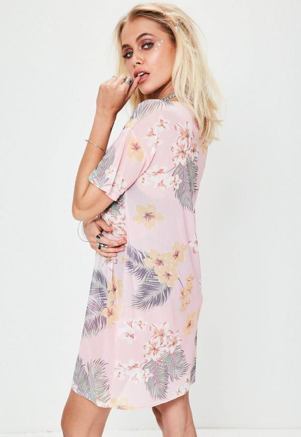 Pink Oversized Floral Print Mesh T-shirt Dress | Missguided